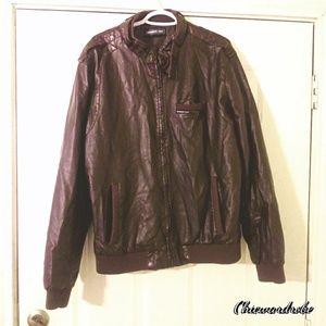 Member only vintage faux real men's leather jacket